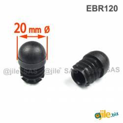 Embout Rond Bombé Renforcé NOIR diamètre 20 mm