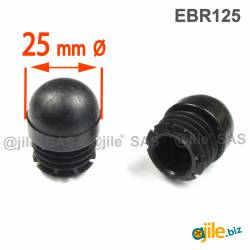 Round Reinforced Semispherical Insert BLACK 25 mm diameter