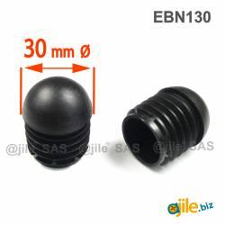 Embout Rond Bombé de Finition NOIR diamètre 30 mm