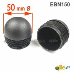 Embout Rond Bombé de Finition NOIR diamètre 50 mm